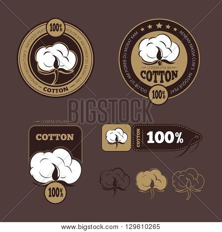 Retro cotton vector icons, labels. Production guarantee cotton, label cotton, badge or logo cotton illustration