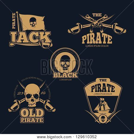 Retro piratical color logo, labels and badges. Old pirate emblem, skull human pirate logo, sword and flag pirate stamp. Vintage vector illustration collection