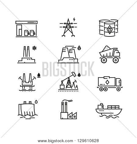 Power industry generations vector line icons. Power electricity,  power fuel supply, power electric, industrial power illustration