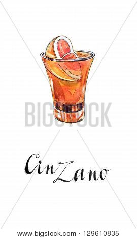 Glass of cinzano with red orange hand drawn - watercolor Illustration
