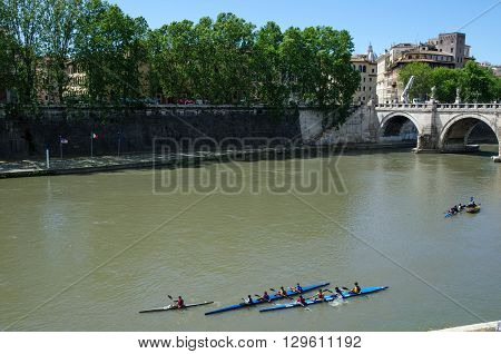 ROME, ITALY - APRIL 25:  Canoeing at the river Tiber in the city of Rome Italy April 25, 2016