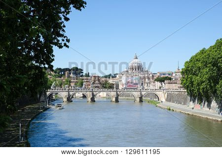 ROME, ITALY - APRIL 25:  View at the river Tiber with the Bridge of Angels in Rome Italy April 25, 2016