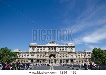 ROME, ITALY - APRIL 25:  Palace of Justice Corte Suprema di Cassazione by the bridge Ponte Umberto I in Rome Italy. April 25, 2016