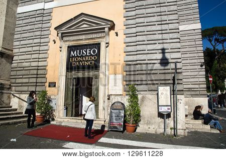 ROME, ITALY - APRIL 25:  Museo Leonardo Da Vinci at Piazza del Popolo in the center om Rome Italy, April 25, 2016.