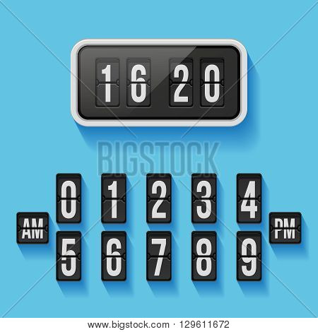 Wall flap counter clock vector template. Time clock, counter wall clock, display clock illustration
