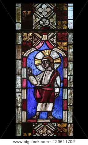 IHLINGEN, GERMANY - OCTOBER 21: Jesus Christ, stained glass window in the church of Saint James in Ihlingen, Germany on October 21, 2014.