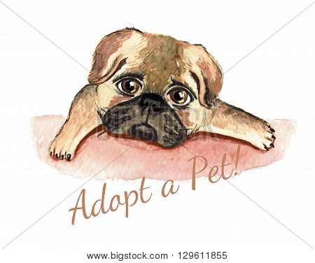 Dog watercolor. Adopt a Pet. Dog adoption concept.
