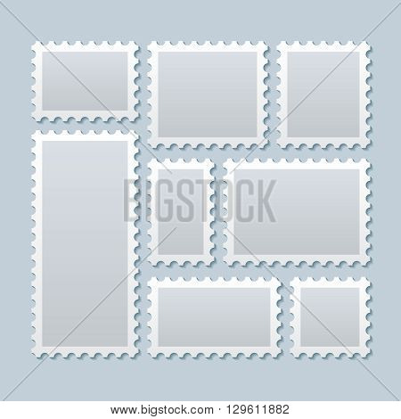 Blank postage stamps in different size. Stamp mark postage, paper mark stamp, blank mark postcard. Vector illustration template