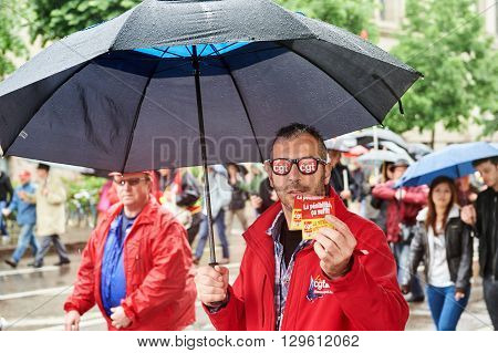 STRASBOURG FRANCE - MAY 12 2016: CGT France - Ganeral Confederation of Labour demonstrate as part of nationwide day of protest against labor reforms by France Government