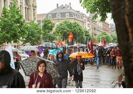 STRASBOURG FRANCE - MAY 12 2016: Closed boulevard as thousand of people demonstrate as part of nationwide day of protest against labor reforms by France Government