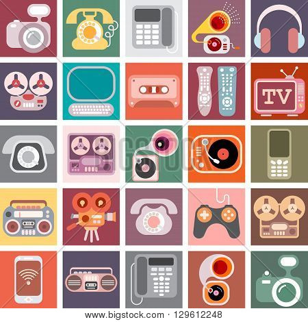 Collage of various colorful vector images with a home electronics theme.