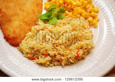 Rice Pilaf with Shredded Carrots Served as a Healthy Side Dish