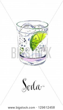 Soda glass with citrus segment and ice cubes hand drawn - watercolor Illustration