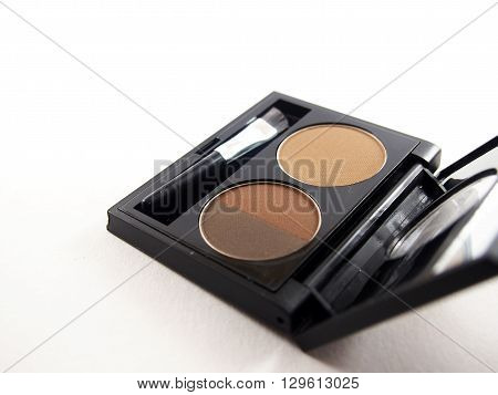 Eyebrow cassette, set of brown powder with brush