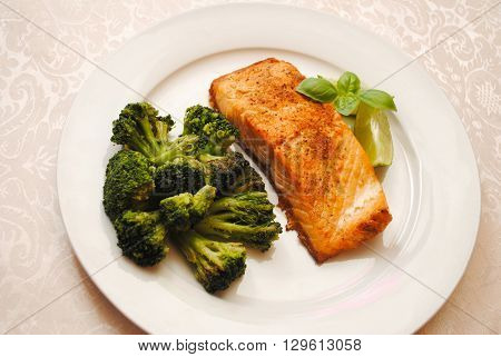 Fresh Baked Salmon with a Side of Broccoli