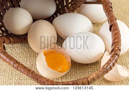 Fresh Eggs In A Wooden Basket