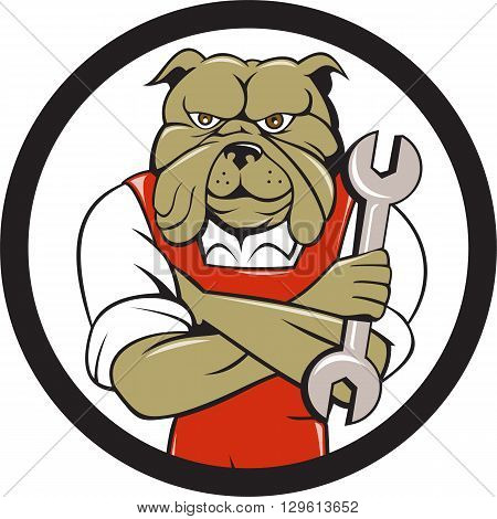 Illustration of a bulldog mechanic with arms crossed holding spanner facing front set inside circle on isolated background done in cartoon style.