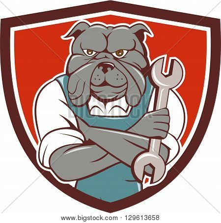 Illustration of a bulldog mechanic with arms crossed holding spanner facing front set inside shield crest on isolated background done in cartoon style.