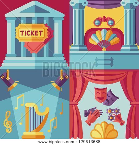 Theatre acting vector concept background in flat style. Show theatre, performance theatre, entertainment theatre illustration