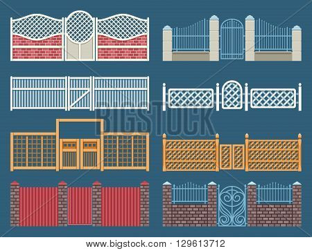 Fences and gates vector set. Gate and fence iron, outdoor gate, architecture fence metal, elegance gate, wooden gate and fence illustration
