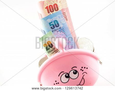 Banknotes collection, baht thai money in pink purse