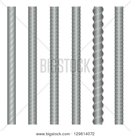 Seamless vector steel rebars, reinforcements set. Steel metal rebar, construction rebar, strong rebar industry, material steel rebar illustration