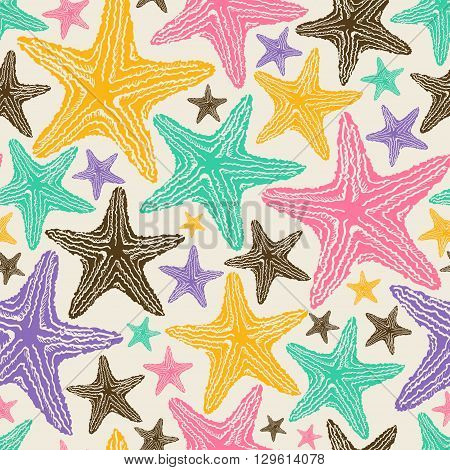 Retro seamless pattern of colorful starfish on a beige background.