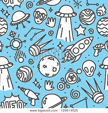 Life in space ufo seamless vector pattern blue