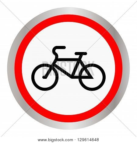 Round icon with a black silhouette of a bicycle. Vector illustration.