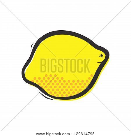 Yellow lemon isolated vector illustration in popart style