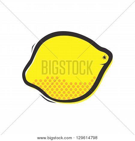Yellow lemon isolated vector illustration in popart style