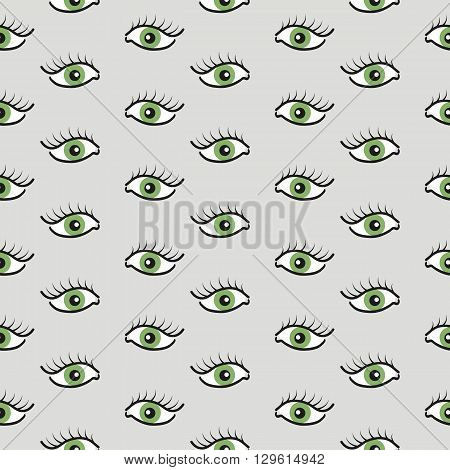 Abstract seamless pattern with open and closed eyes. Eyelashes background illustration.