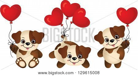 Scalable vectorial image representing a dog with heart balloon, isolated on white.