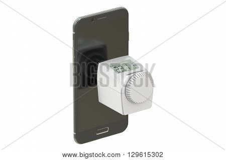 Energy saving concept with modern thermostat and phone 3D rendering