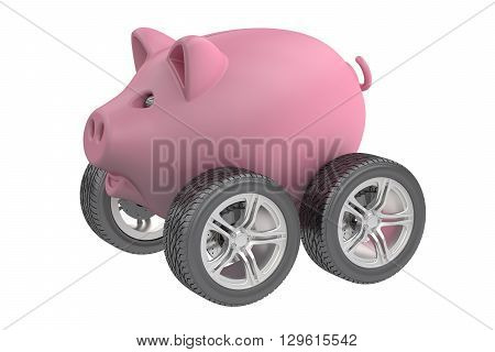 Piggy bank with wheels 3D rendering isolated on white background