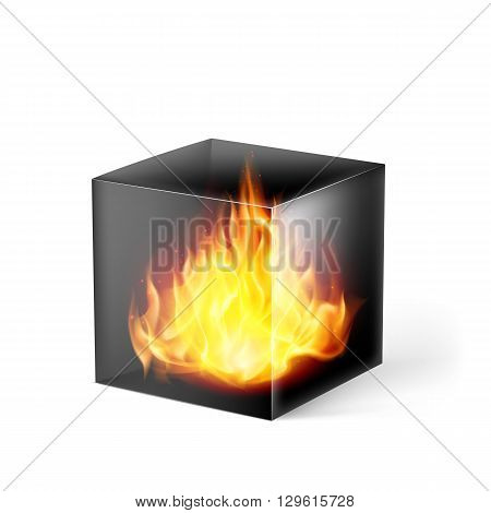 Black cube with fire flames inside on white