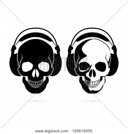 Two black and white skulls with headphone. Music fan