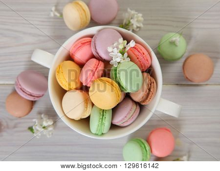 sweet  macaroon on wooden background