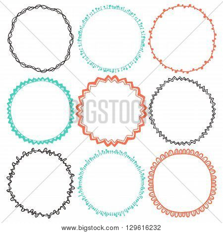 Set of 9 decorative circle border frames. Ornate round wreaths for use as a decorative element, for logo or emblem. Circle design for round frames. These pattern brush you can find in my portfolio