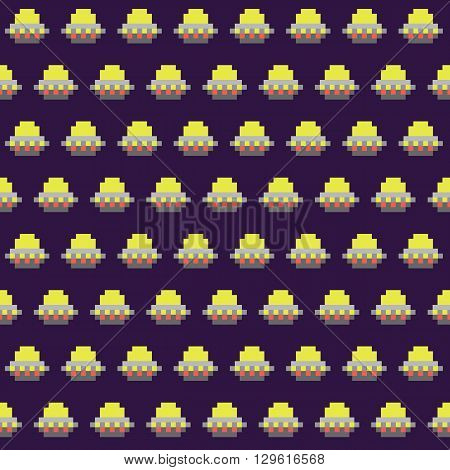 Old school pixel art style ufo arcade game seamless vector pattern