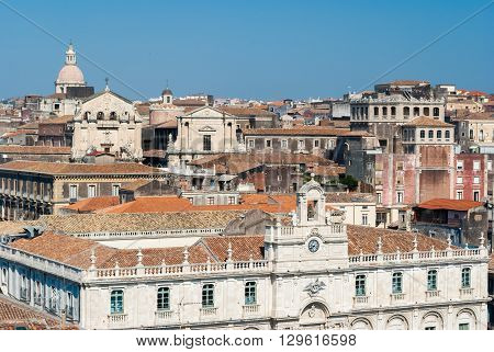 Top view of the historical downtown of Catania