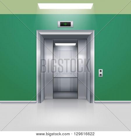 Realistic Empty Elevator with Half Open Door in Green Lobby