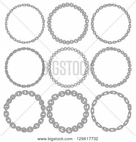Set of 9 decorative circle border frames. Silver Chain round wreaths for use as a decorative element, for logo, emblem. Circle design for round frames. These pattern brush you can find in my portfolio