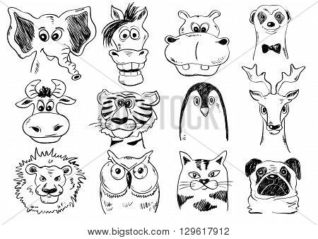 Set of isolated funny cartoon smiling animal face icons. Creative avatars. Sketch animal face characters.