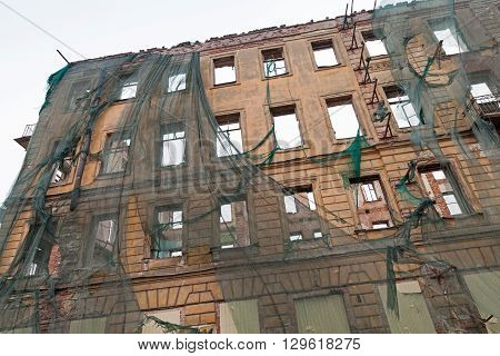 Old House Facade With Empty Windows