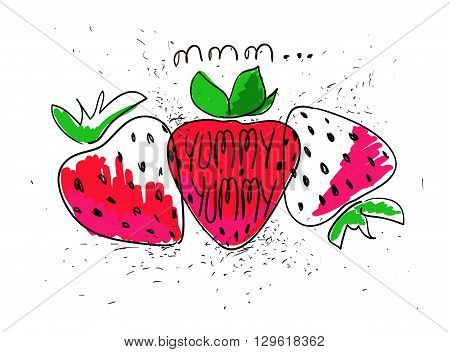 Hand drawn illustration of isolated colorful strawberries on a white background. Bright funny cartoon strawberry.