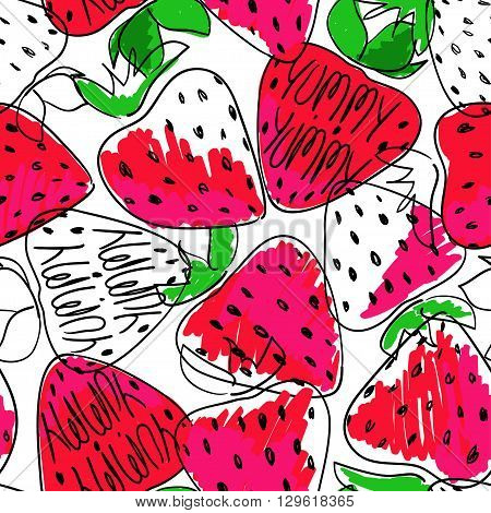 Hand drawn colorful sketch seamless pattern of strawberries. Funny bright cartoon strawberry background.