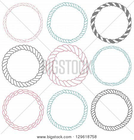 Set of 9 decorative circle border frames. Rope round wreaths for use as a decorative element, for logo or emblem. Circle design for round rope frames. These pattern brush you can find in my portfolio