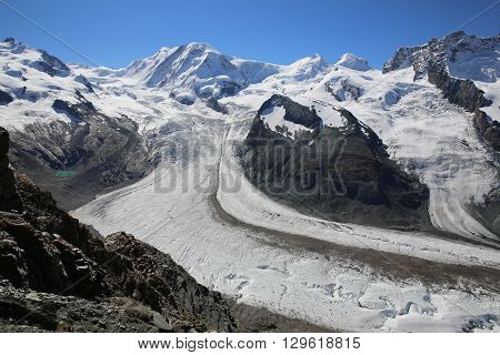 Monte Rosa with Gorner Glacier. Zermatt. Switzerland
