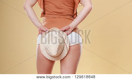 Fashionable woman with hat. Summer fashion. Holidays vacation.